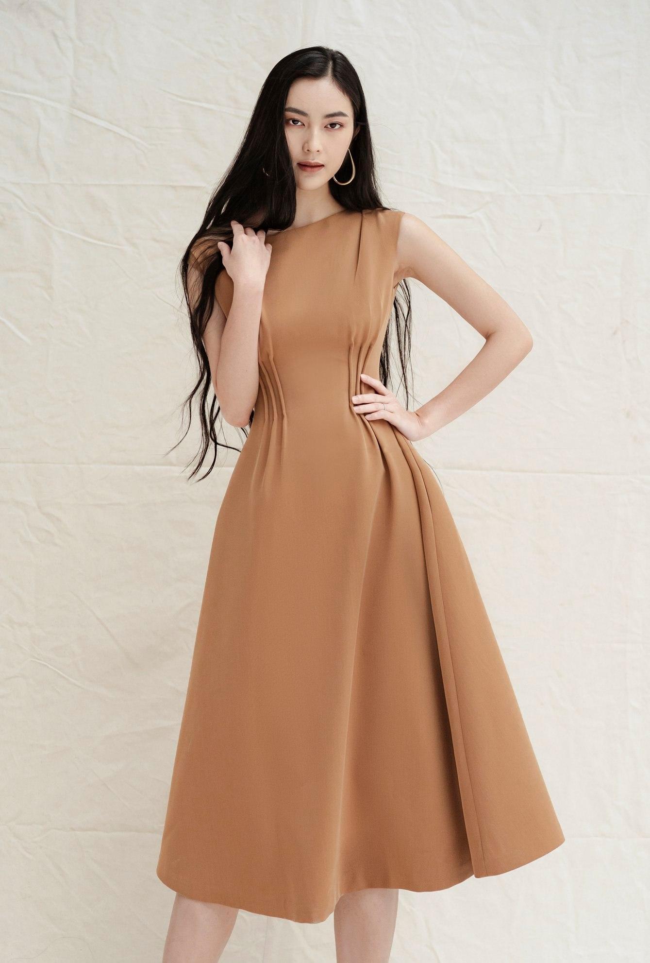 Đầm xoè dài xếp ly eo #2720