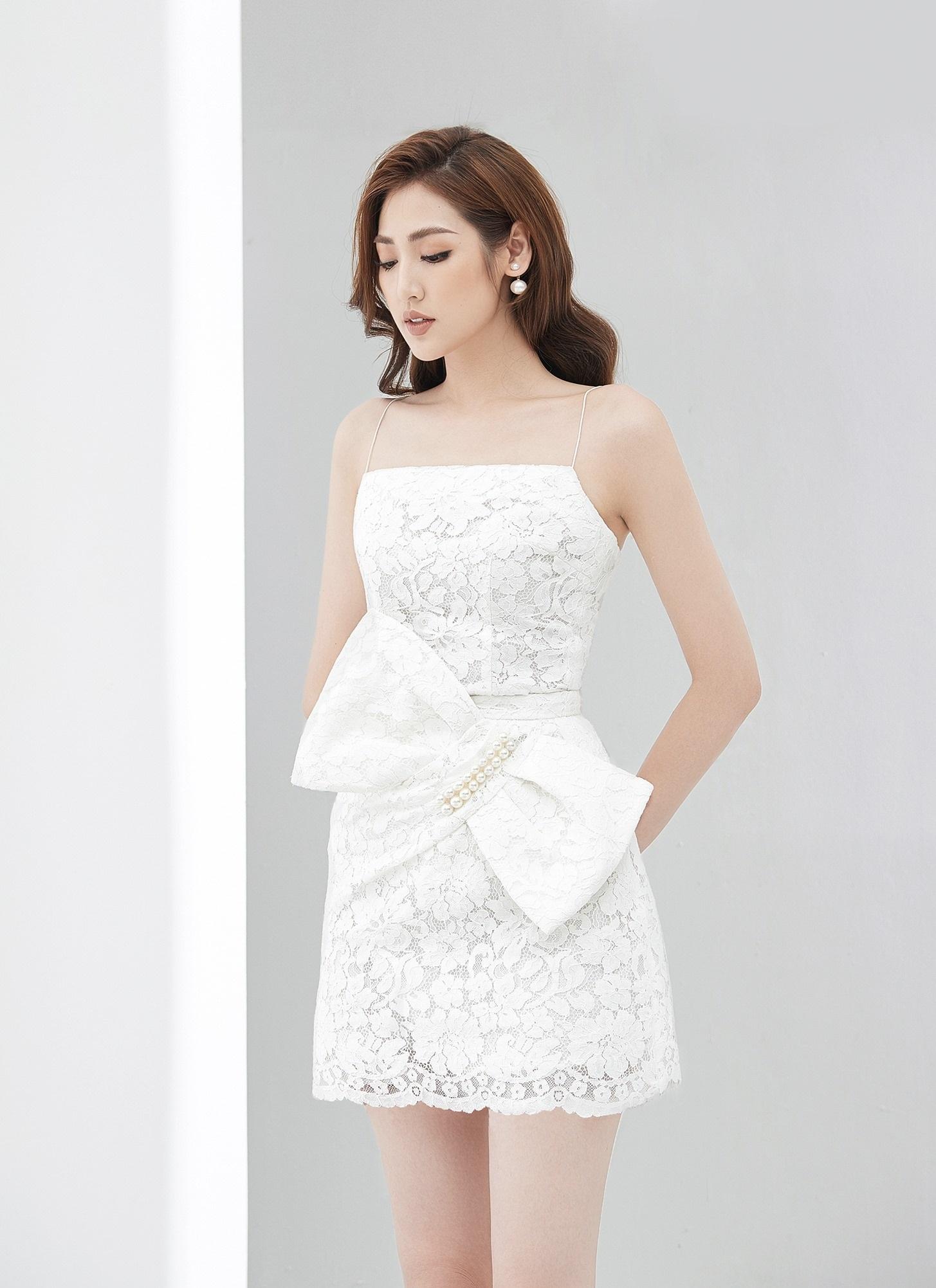 Đầm xoè 2 dây nơ đính ngọc trai eo #2843