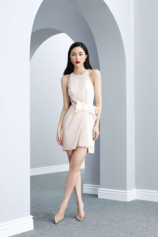 Đầm cổ yếm eo xếp ly nơ thiết kế thanhl lịch cao cấp #2612