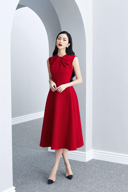 Đầm xòe sát nách xếp ly cổ thiết kế nữ tính cao cấp #2596