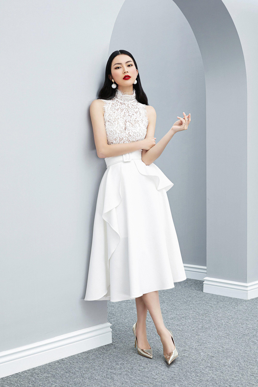 Đầm xòe sát phối ren bèo sườn cổ thiết kế nữ tính cao cấp #2598