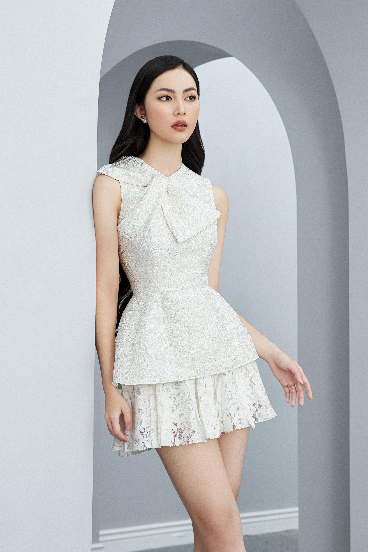 Đầm xòe áo gấm trắng váy ren #2606