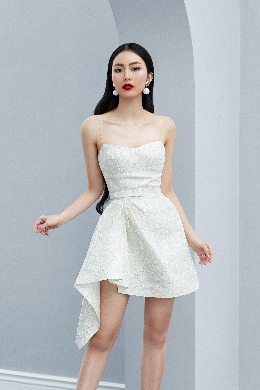 Đầm xoè 2 dây váy xếp ly eo tà xéo #2610
