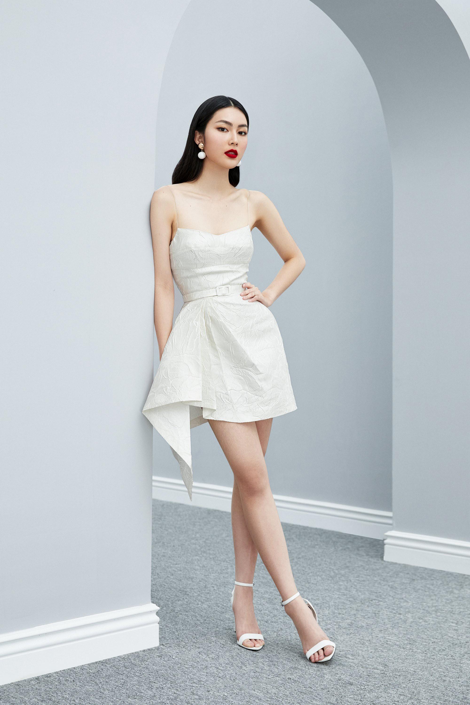 Đầm cúp 2 dây váy xếp ly eo tà xéo thiết kế quyến rũ cao cấp #2611