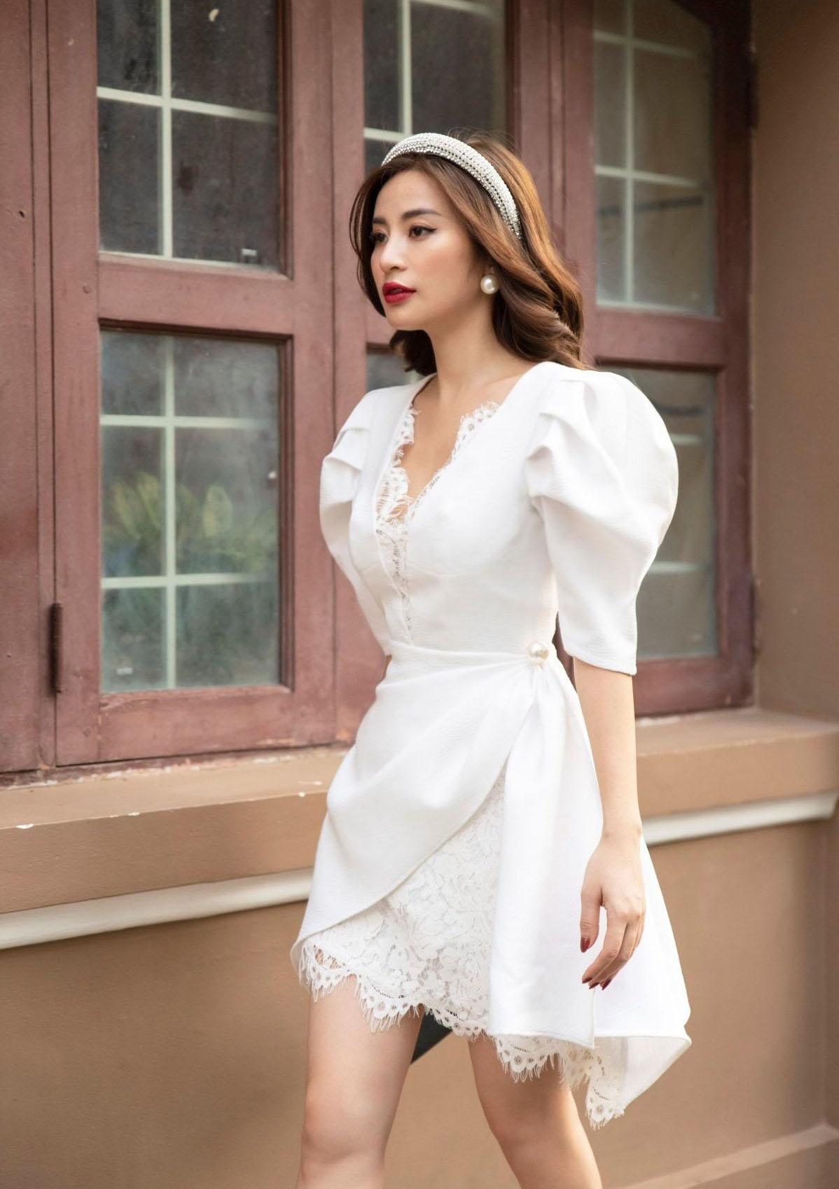 Đầm A tay phồng pha ren #2545