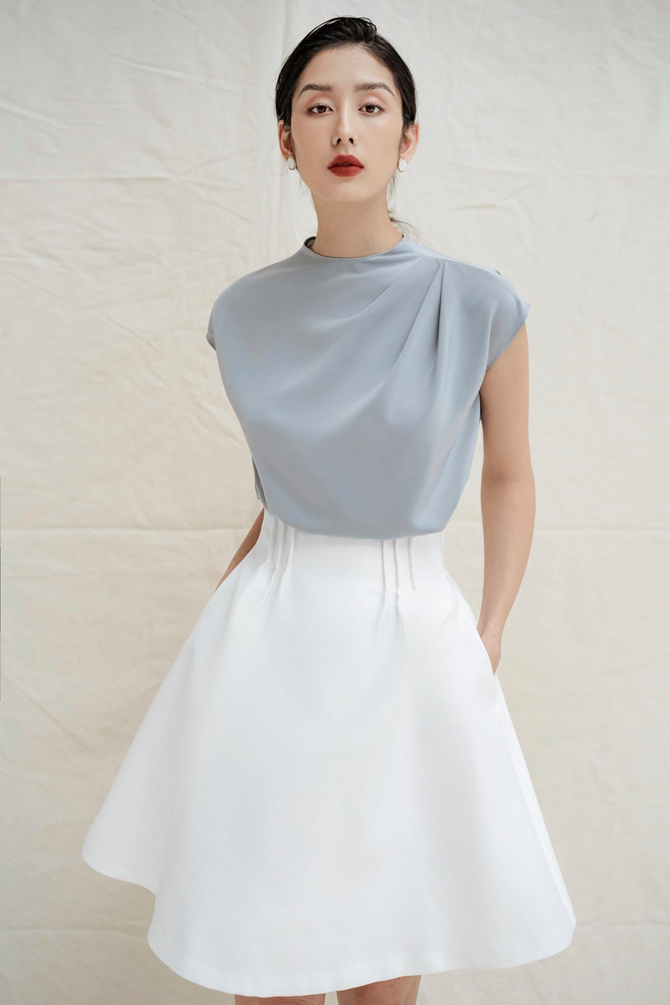 Set Áo lụa tay con và Chân váy xoè #2700