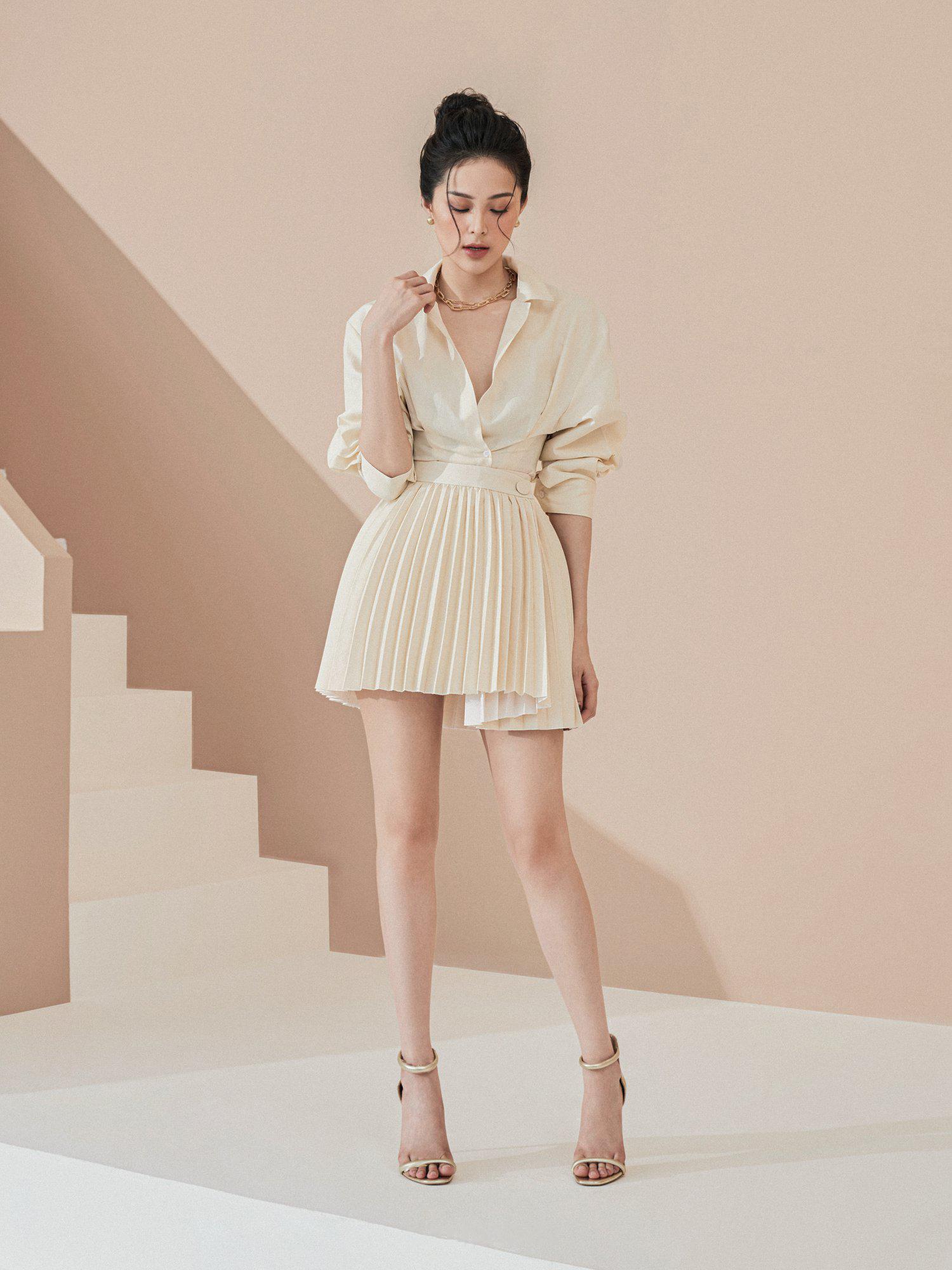 Set áo váy ngắn xoè xếp ly #2866
