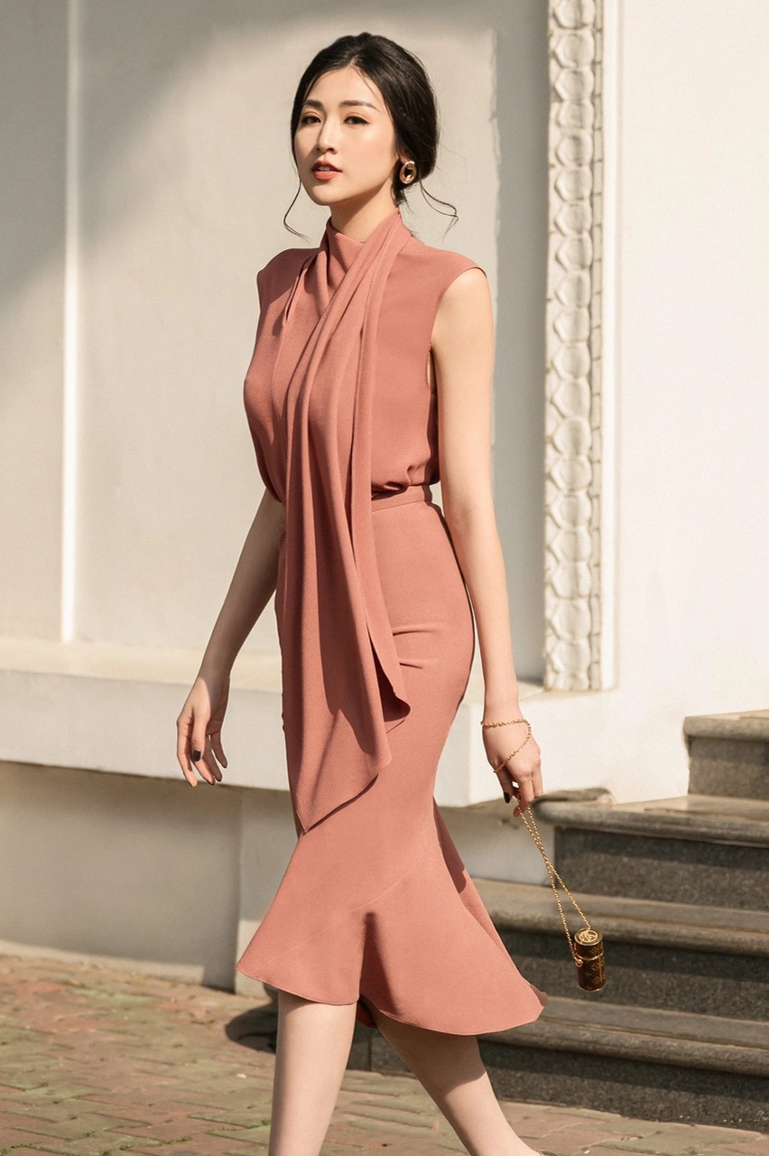 Set váy choàng cổ sát nách #2668
