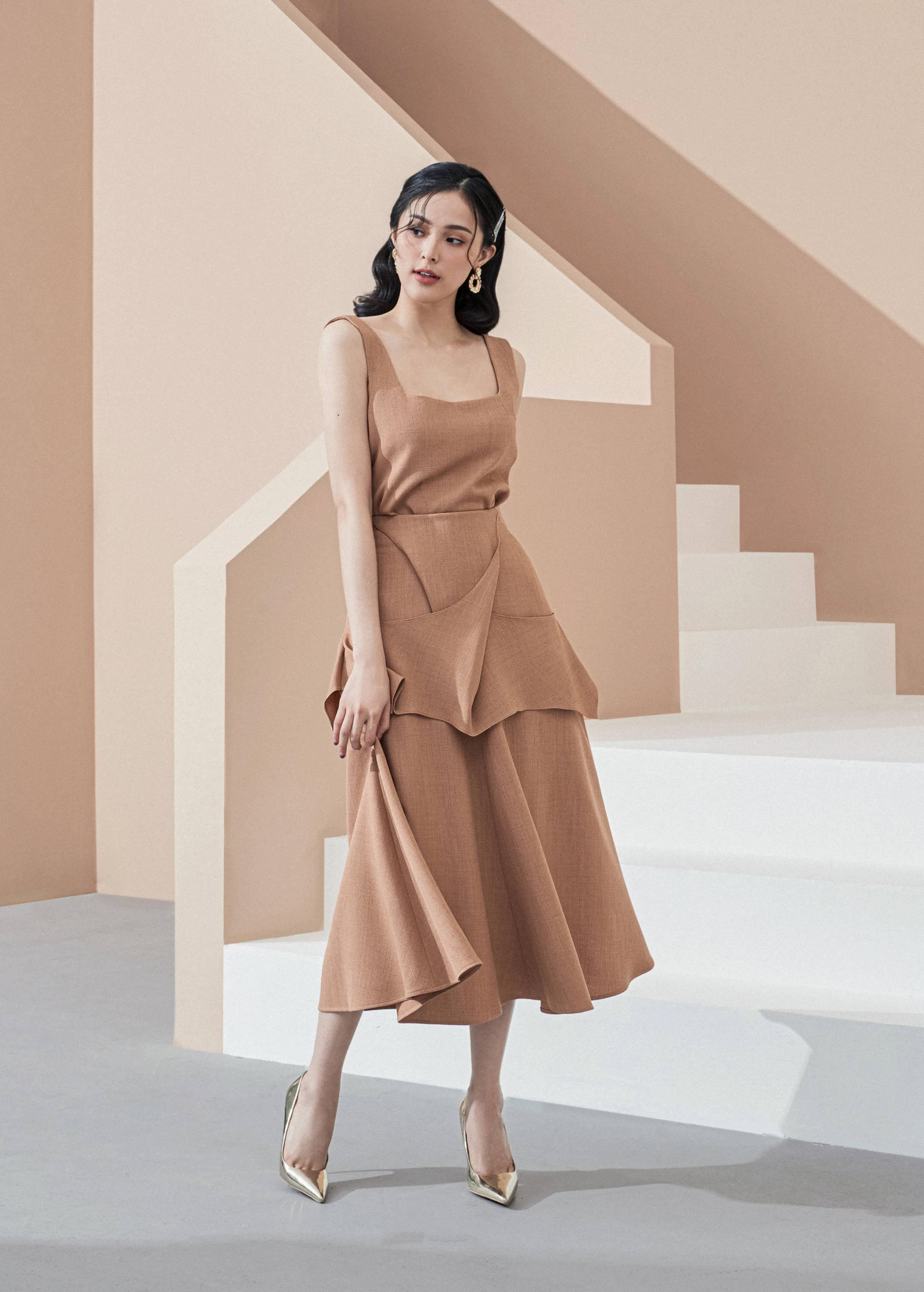 Set váy áo cổ vuông #2886