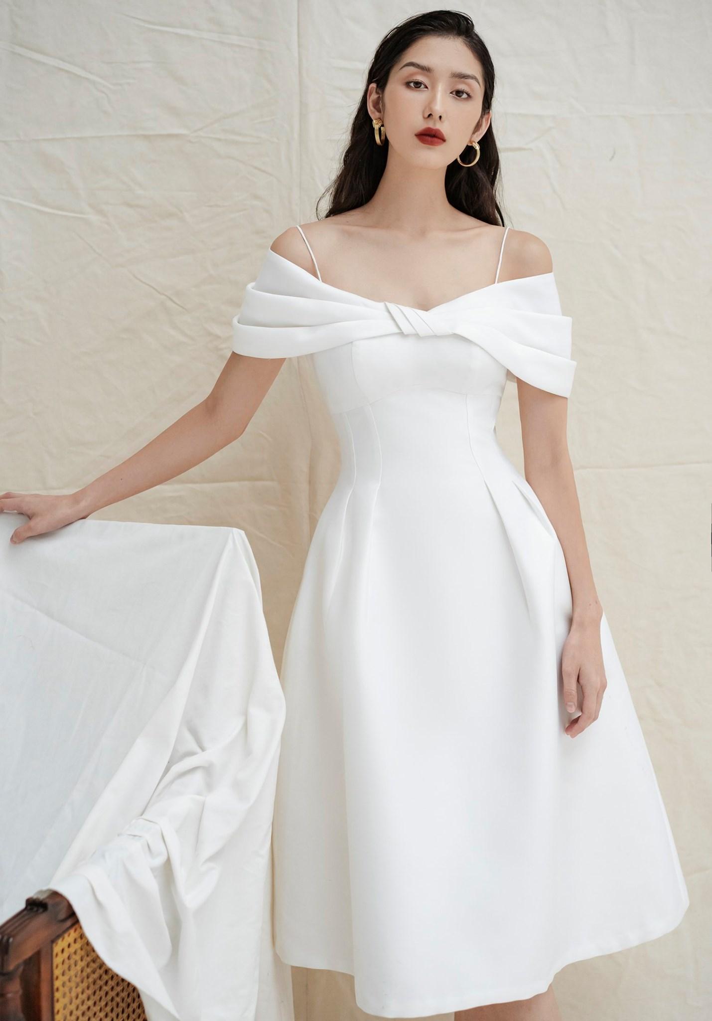 Đầm xòe bẹt vai 2 dây #2692
