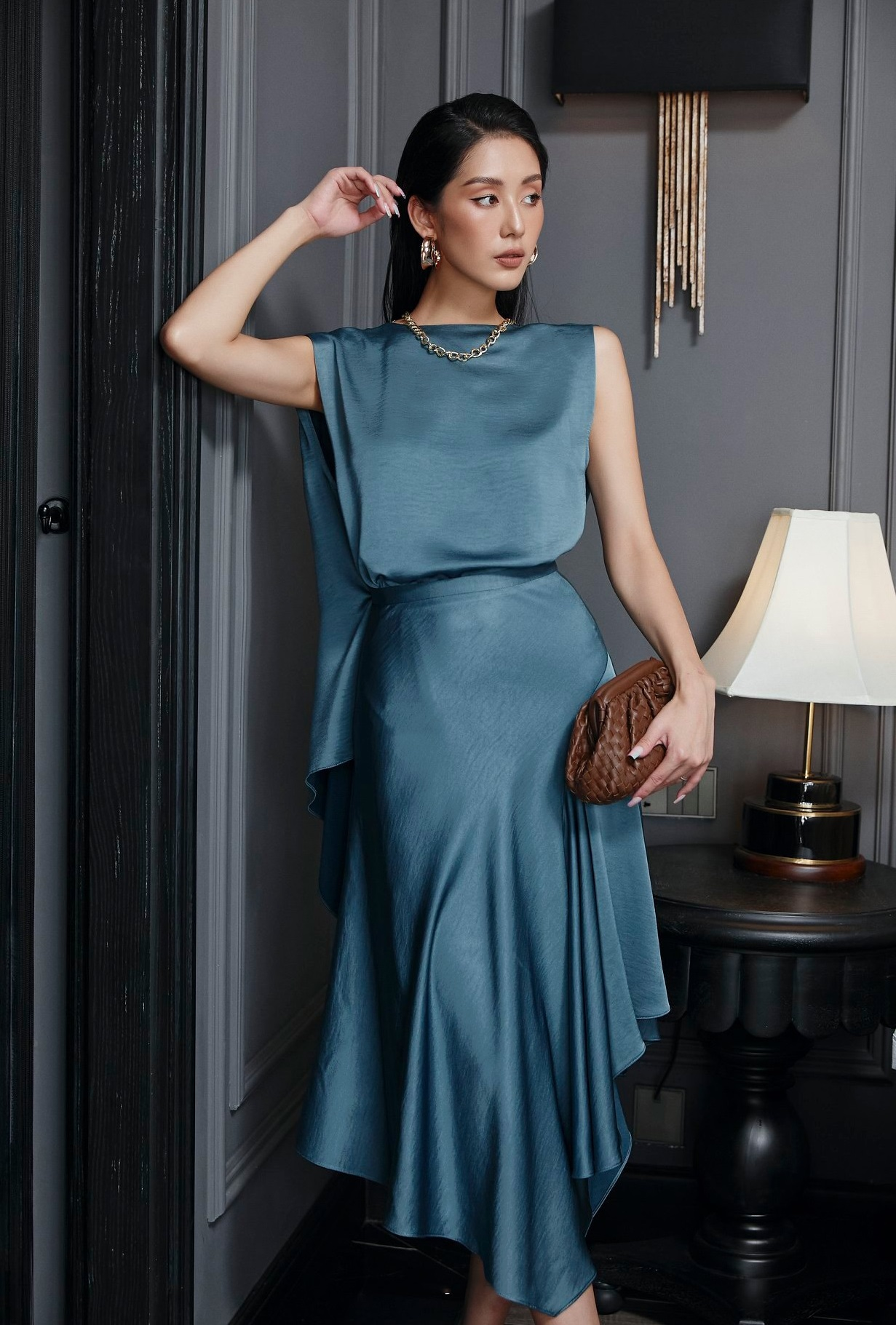 Set váy xoè áo choàng cổ #2852