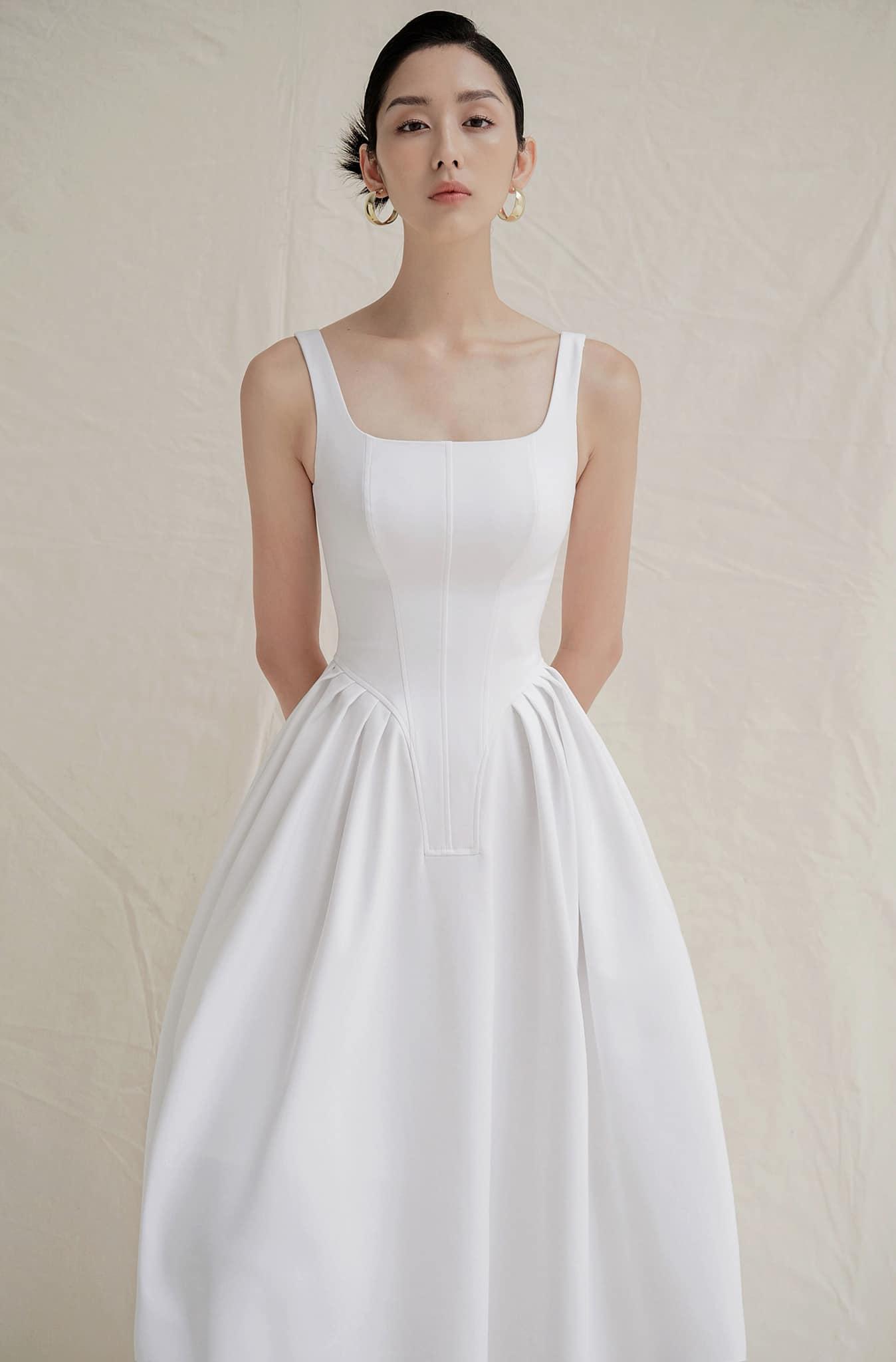 Đầm xoè 2 dây phồng eo #2780