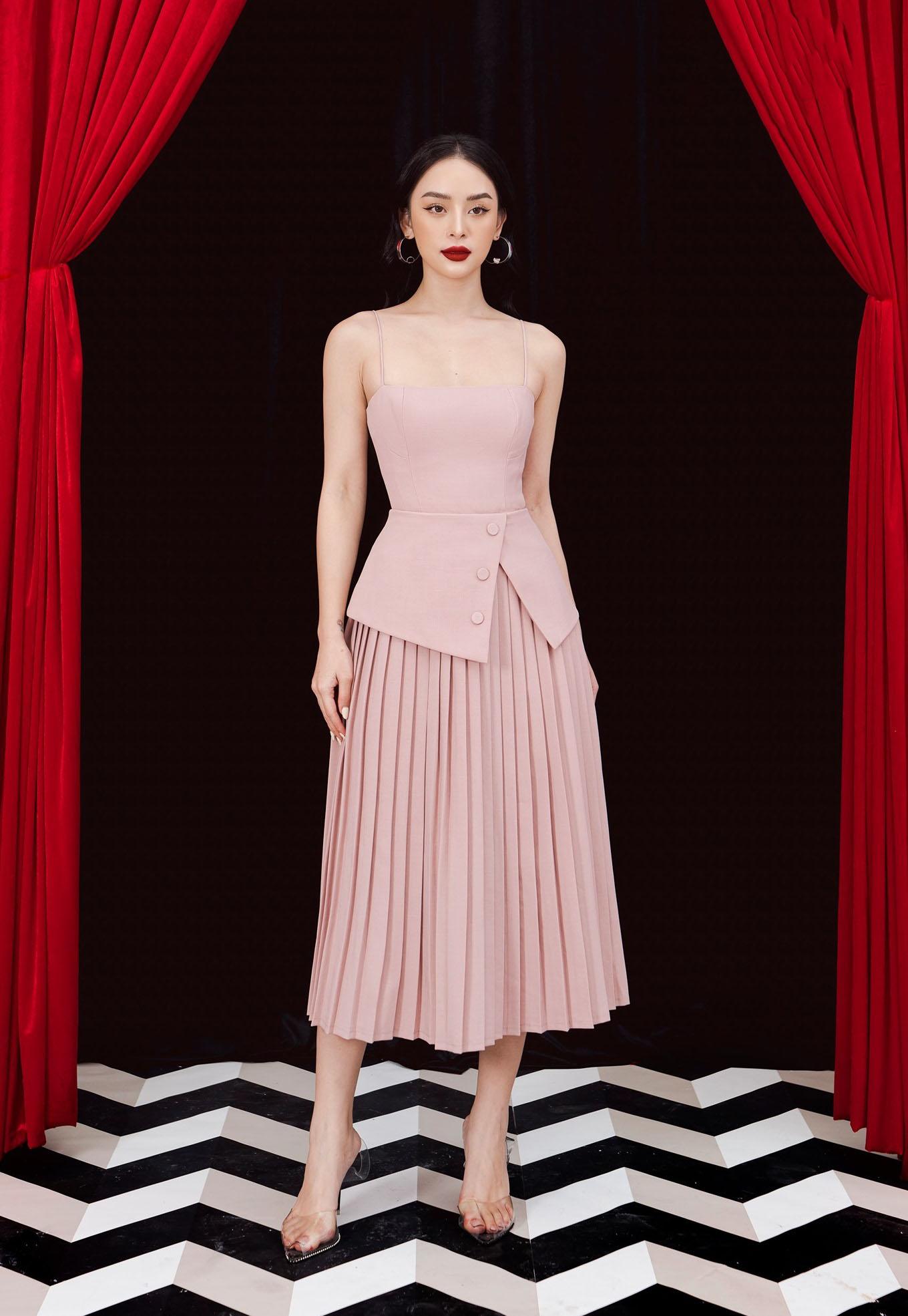 Đầm xòe 2 dây chân váy xếp ly #2884