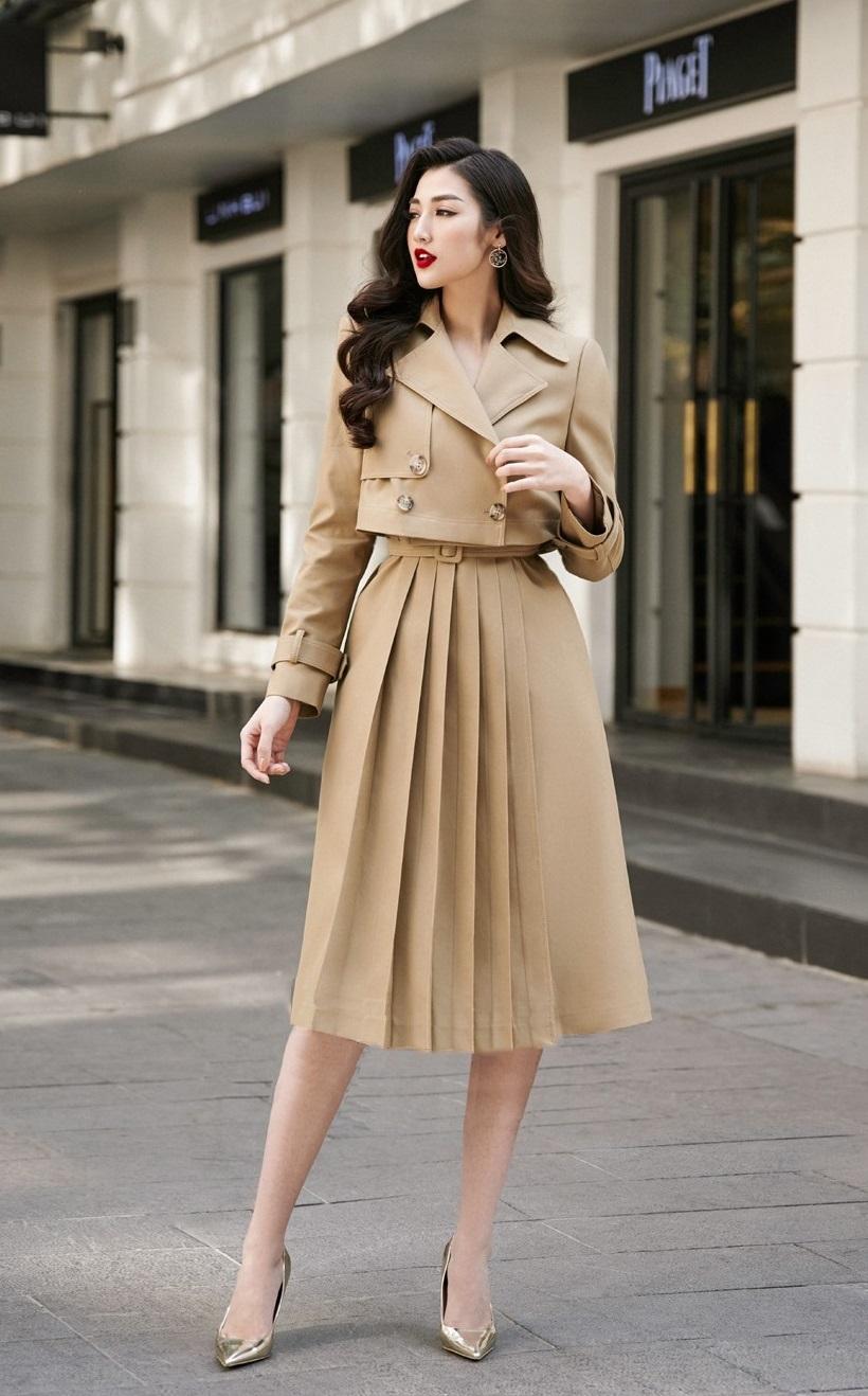 Set váy xòe xếp ly #2630