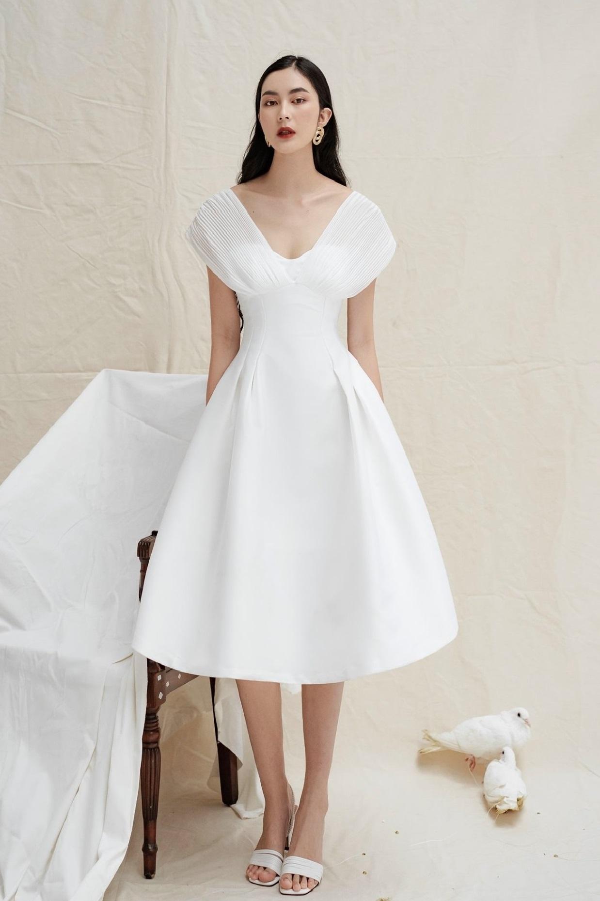 Đầm xoè cúp ngực phối voan dập ly #2781