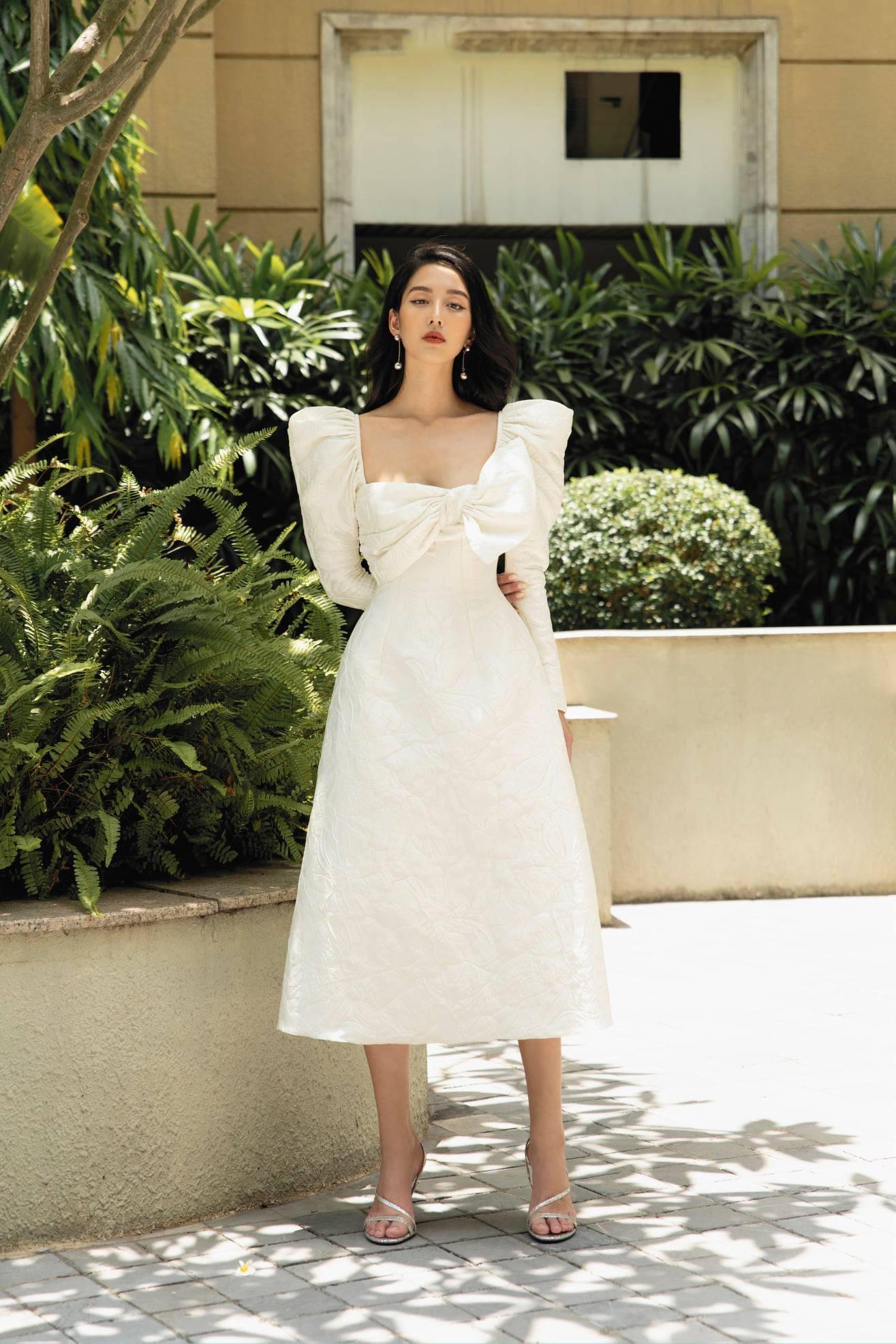 Đầm xoè tay dài phồng xếp nơ #2789