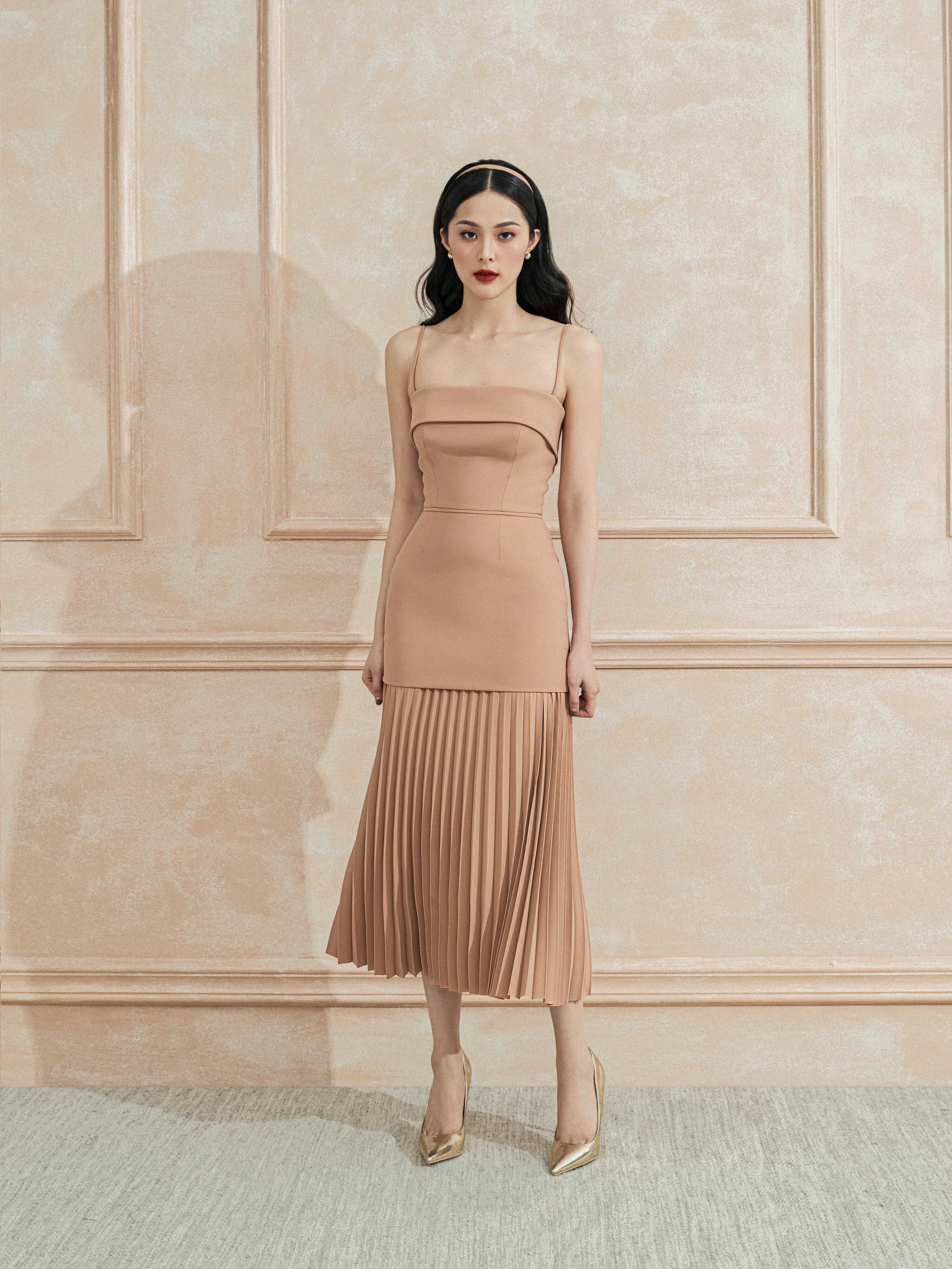 Đầm 2 dây dáng váy dập ly chữ A #2806