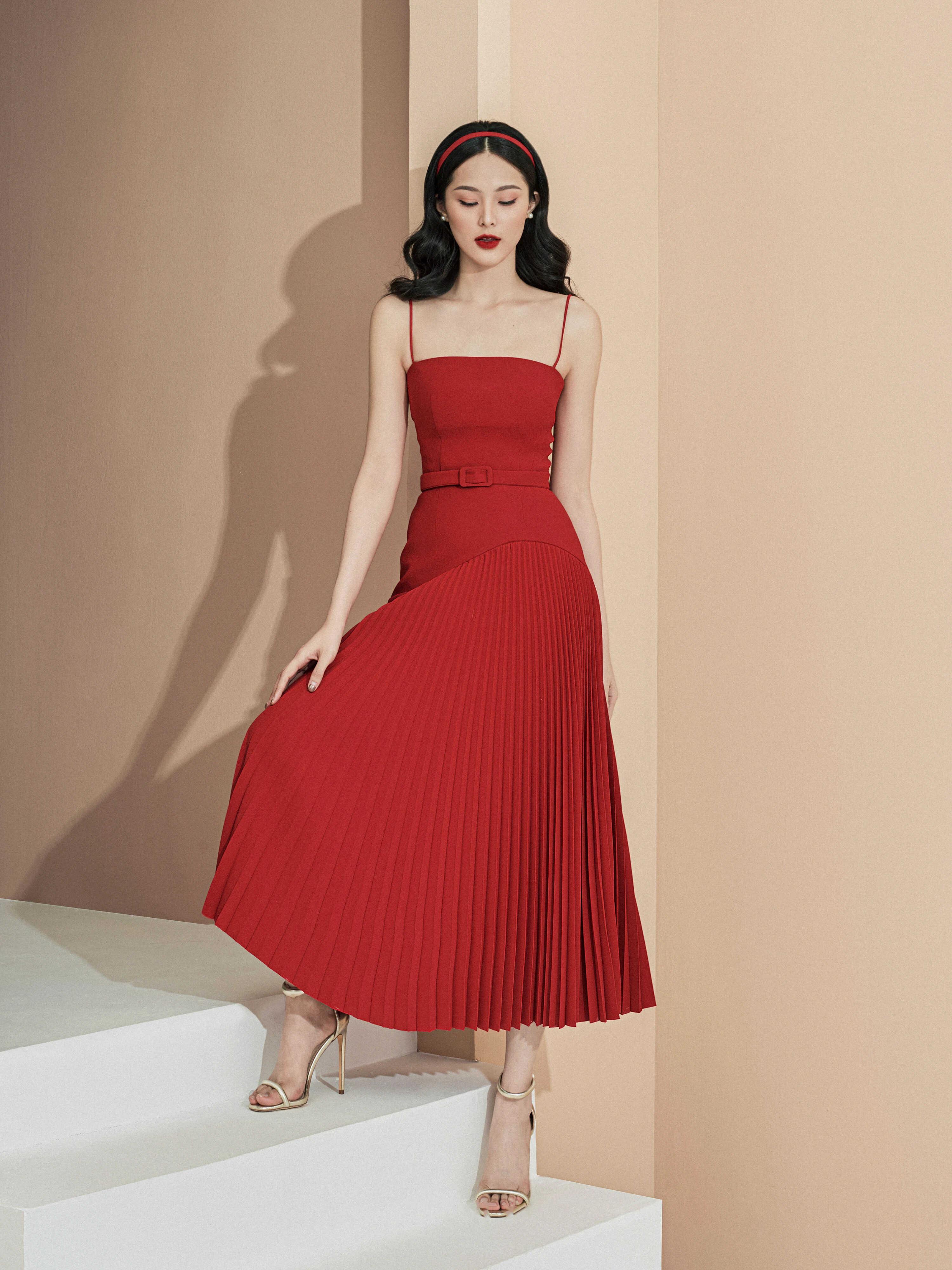 Đầm 2 dây váy A dập ly #2831