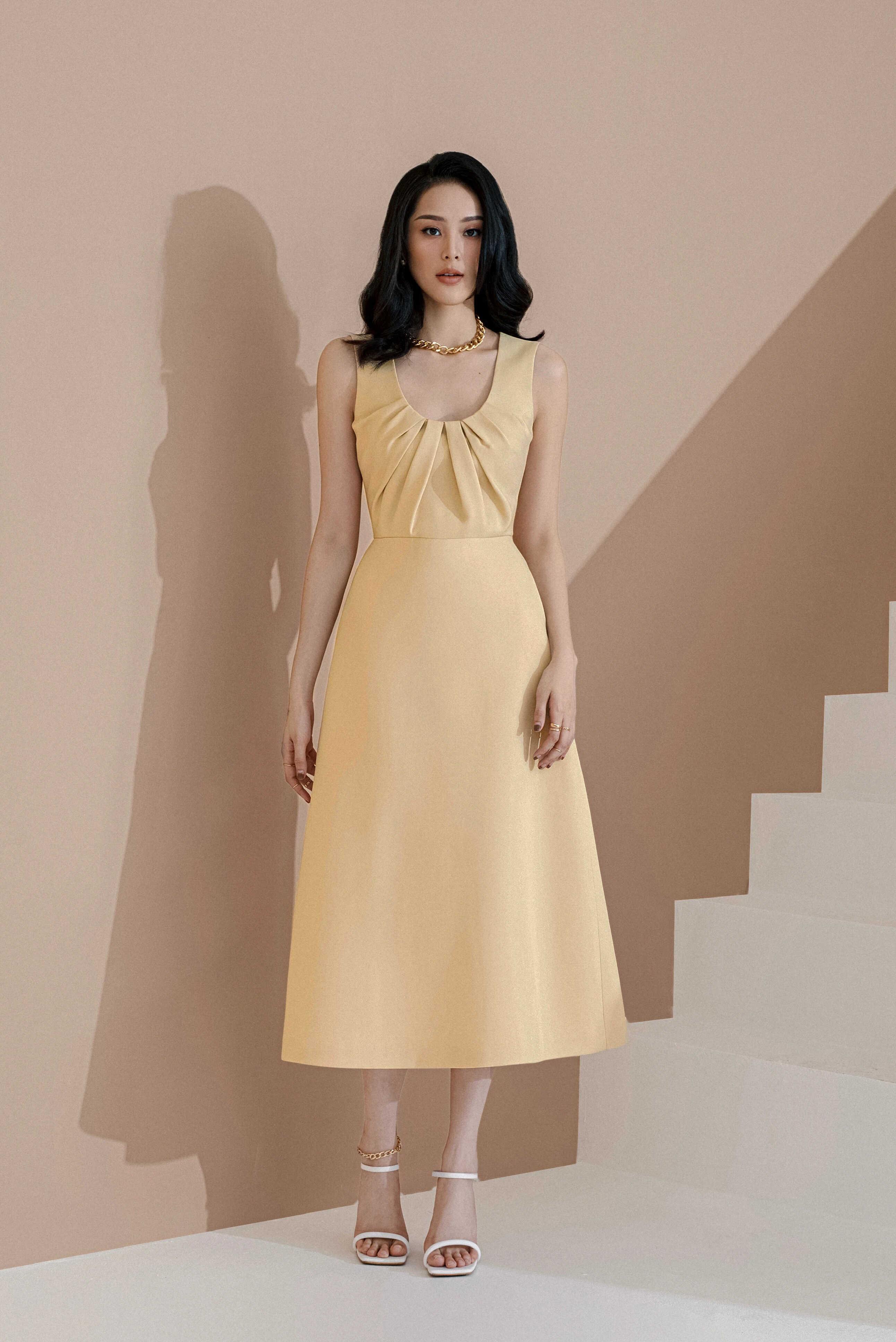 Đầm xoè 2 dây xếp ly ngực #2801