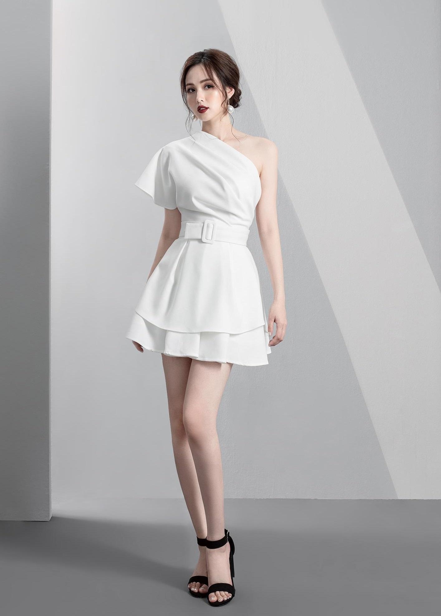 Đầm xòe lệch một vai váy hai tầng #