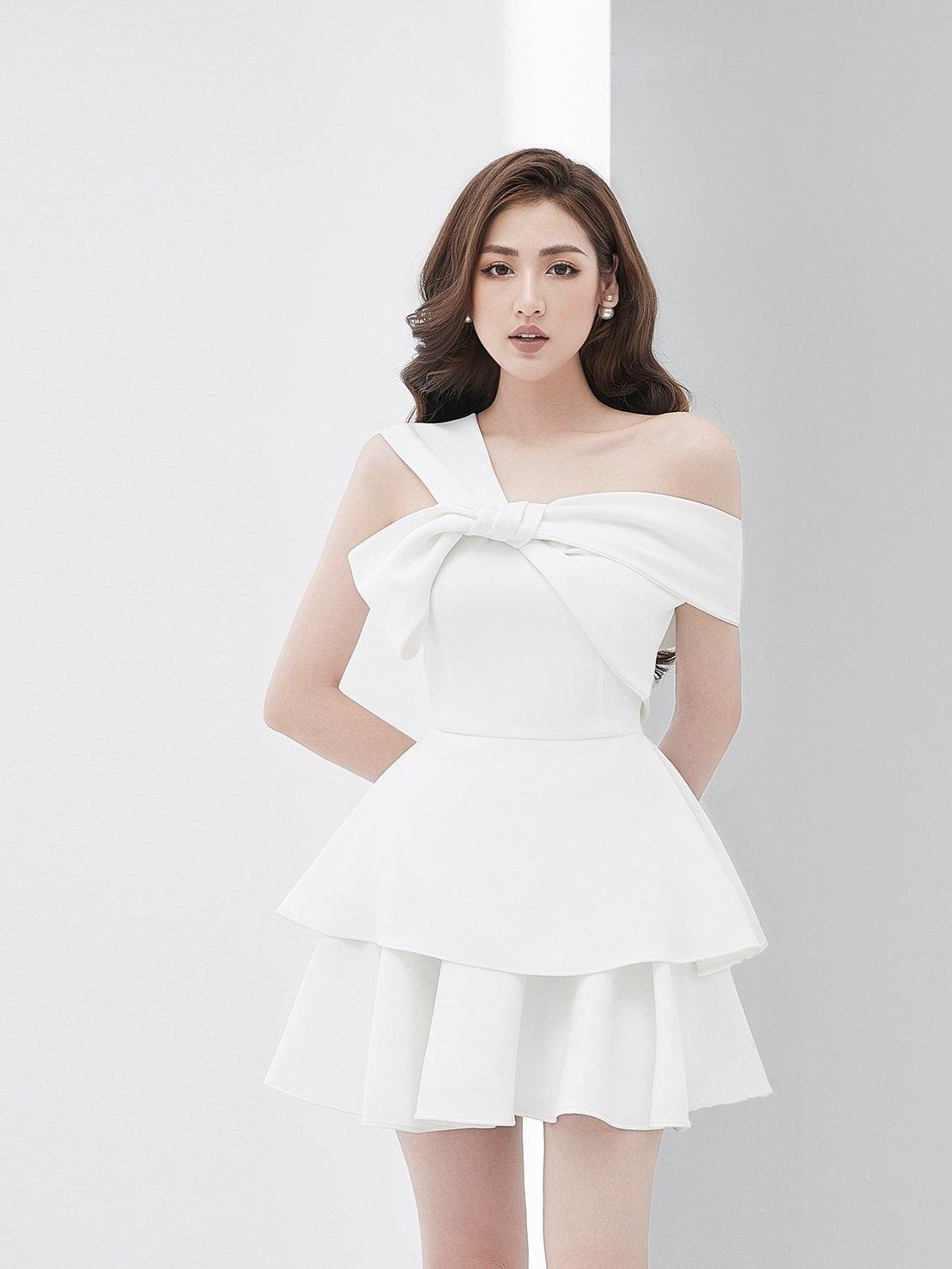 Đầm xòe lệch vai nơ 2 tầng #2835