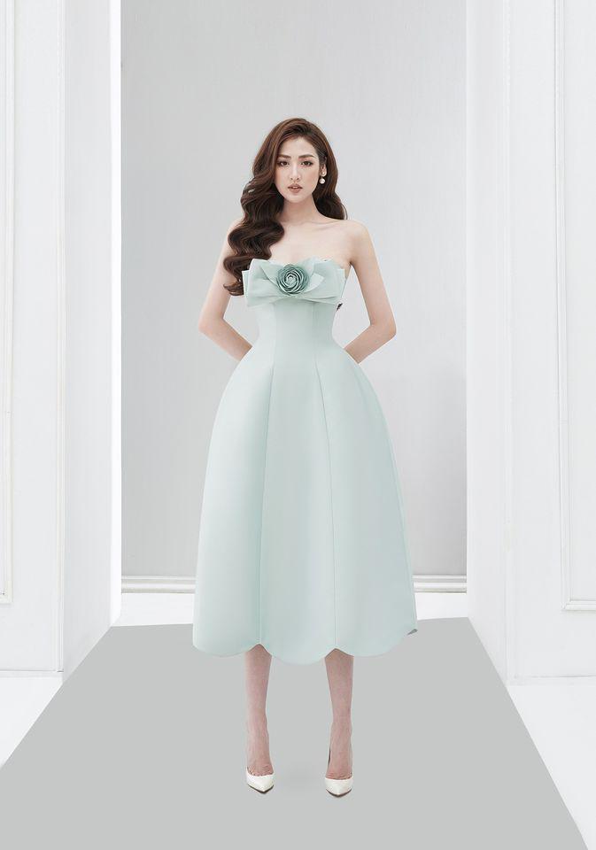 Đầm xòe dài 2 dây nơ ngực #2837