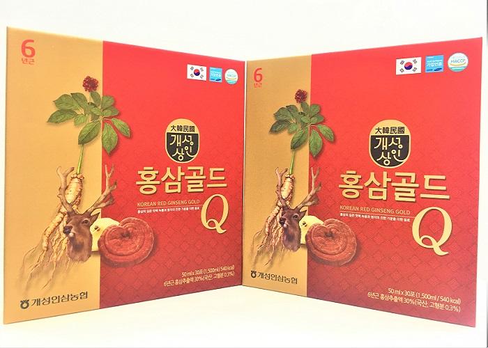 Nước Tinh Chất Hồng Sâm Nhung Hươu Linh Chi Gold Q Hàn Quốc Hộp 30 Gói x 50ml