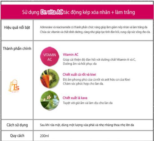 Nước hoa hồng Dr.Vita Vitamin Skin Toner AC 200ml