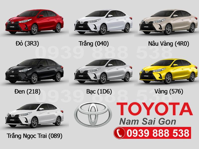 Bảng Màu Xe Toyota Vios Mới Nhất