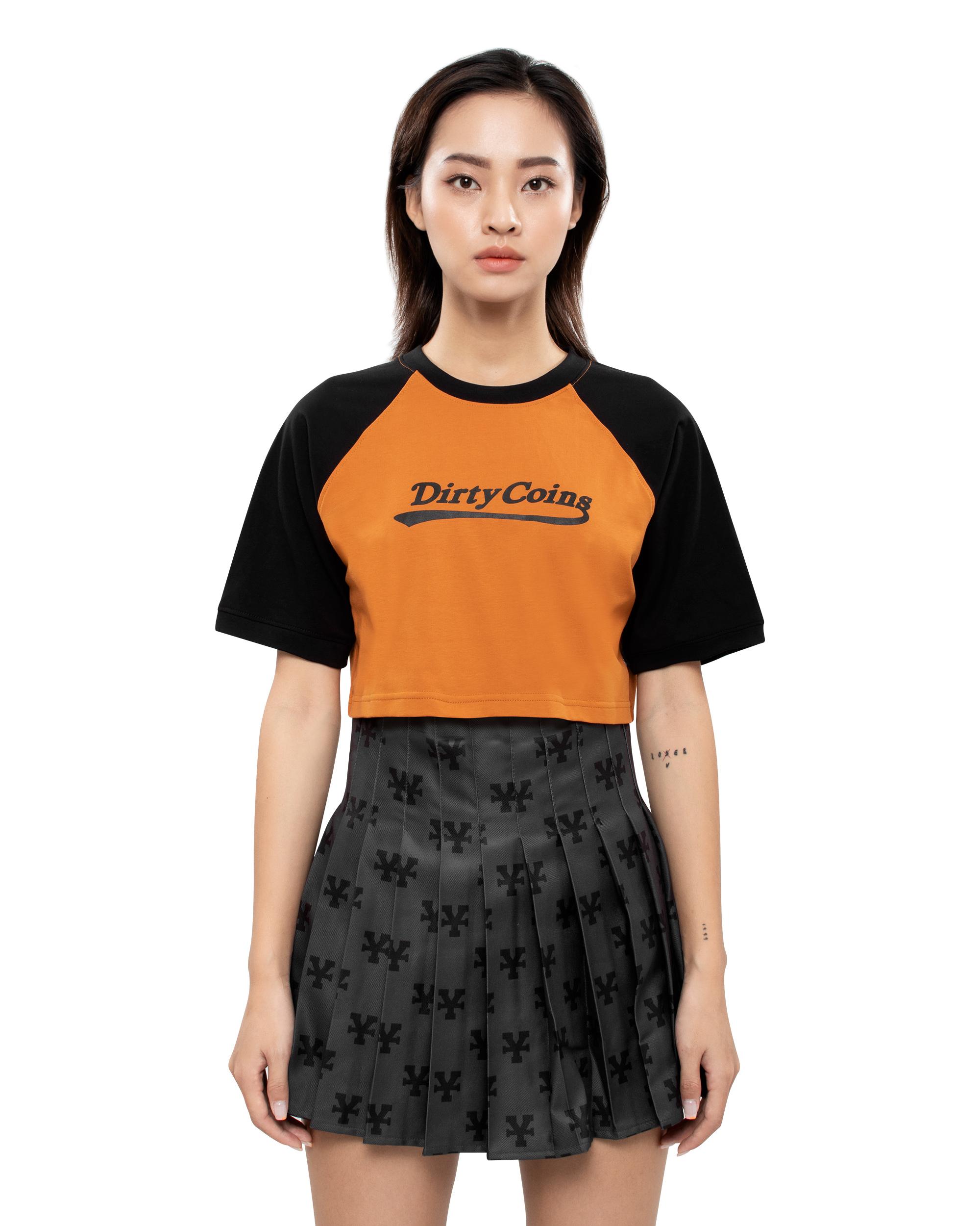 DirtyCoins Basic Croptop Raglan - Yellow /Black
