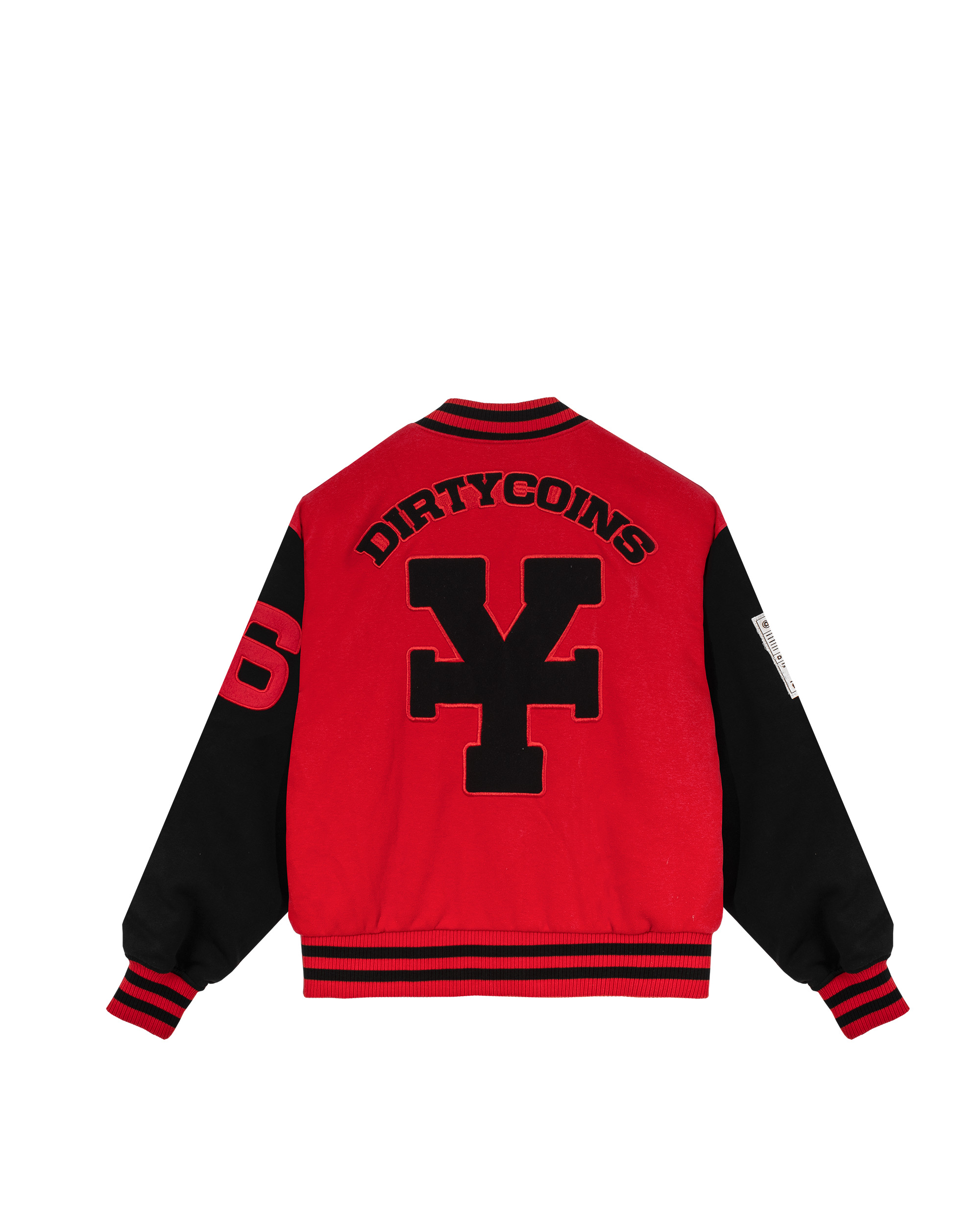 DirtyCoins Embroidered Varsity Jacket - Red/Black
