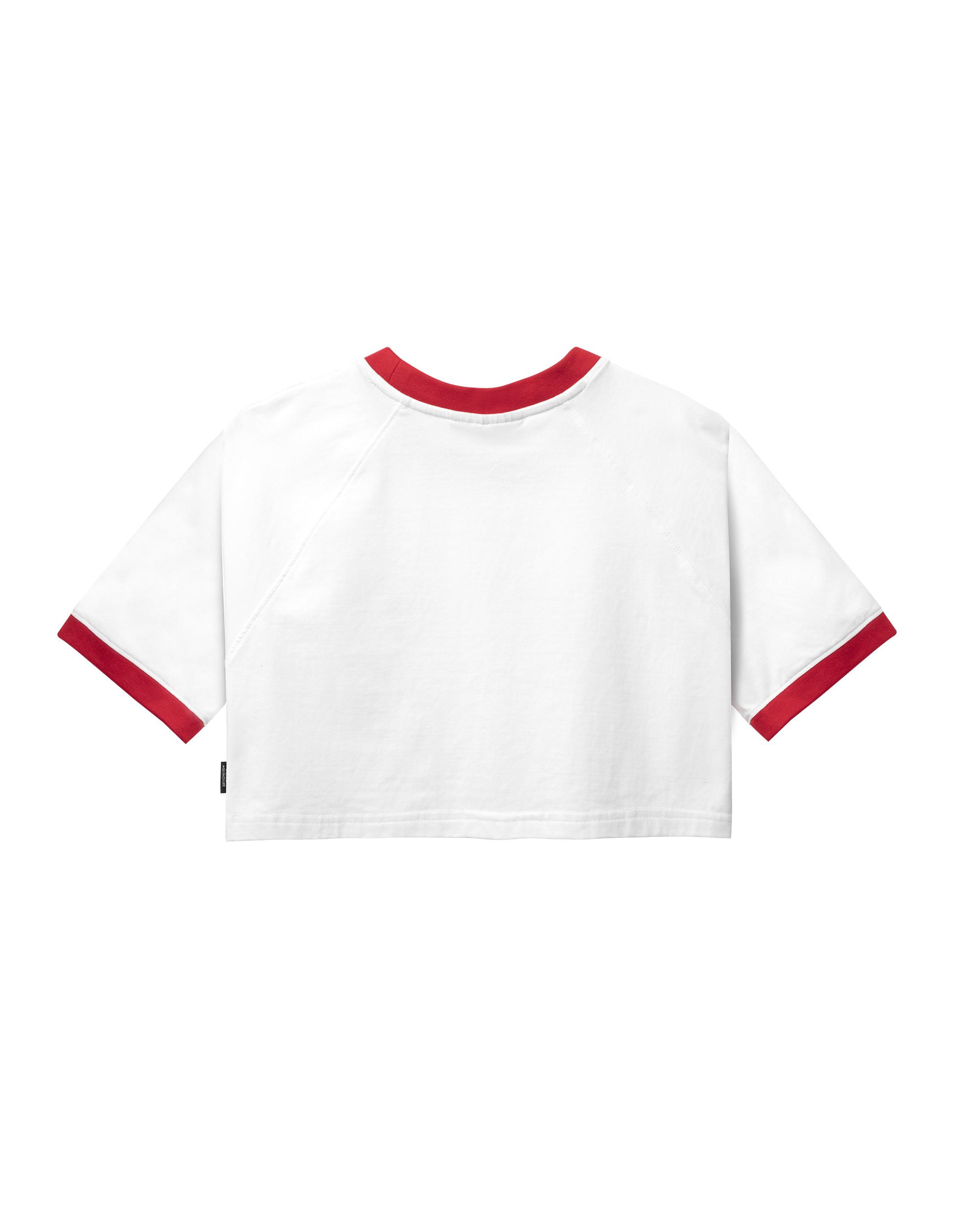 DirtyCoins Basic Croptop Raglan - White /Red