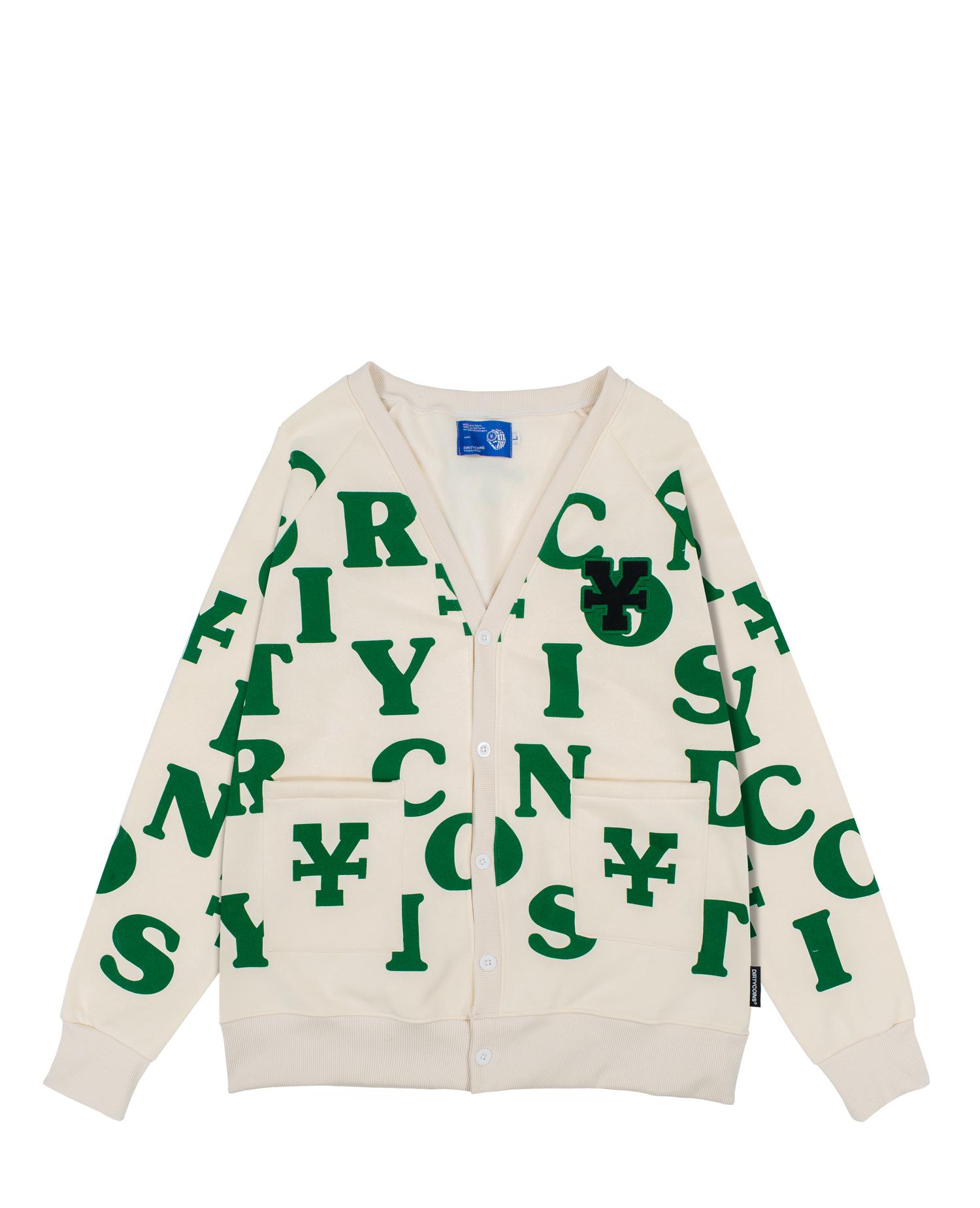 DirtyCoins Print Cardigan - Cream/Green