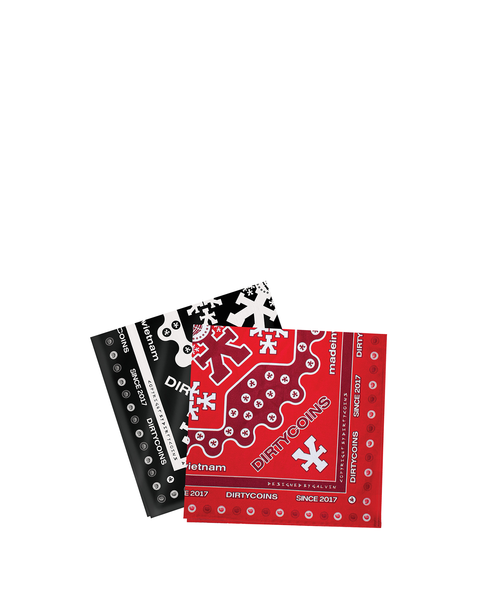 Signature Pattern Bandana Pack - Black/Red
