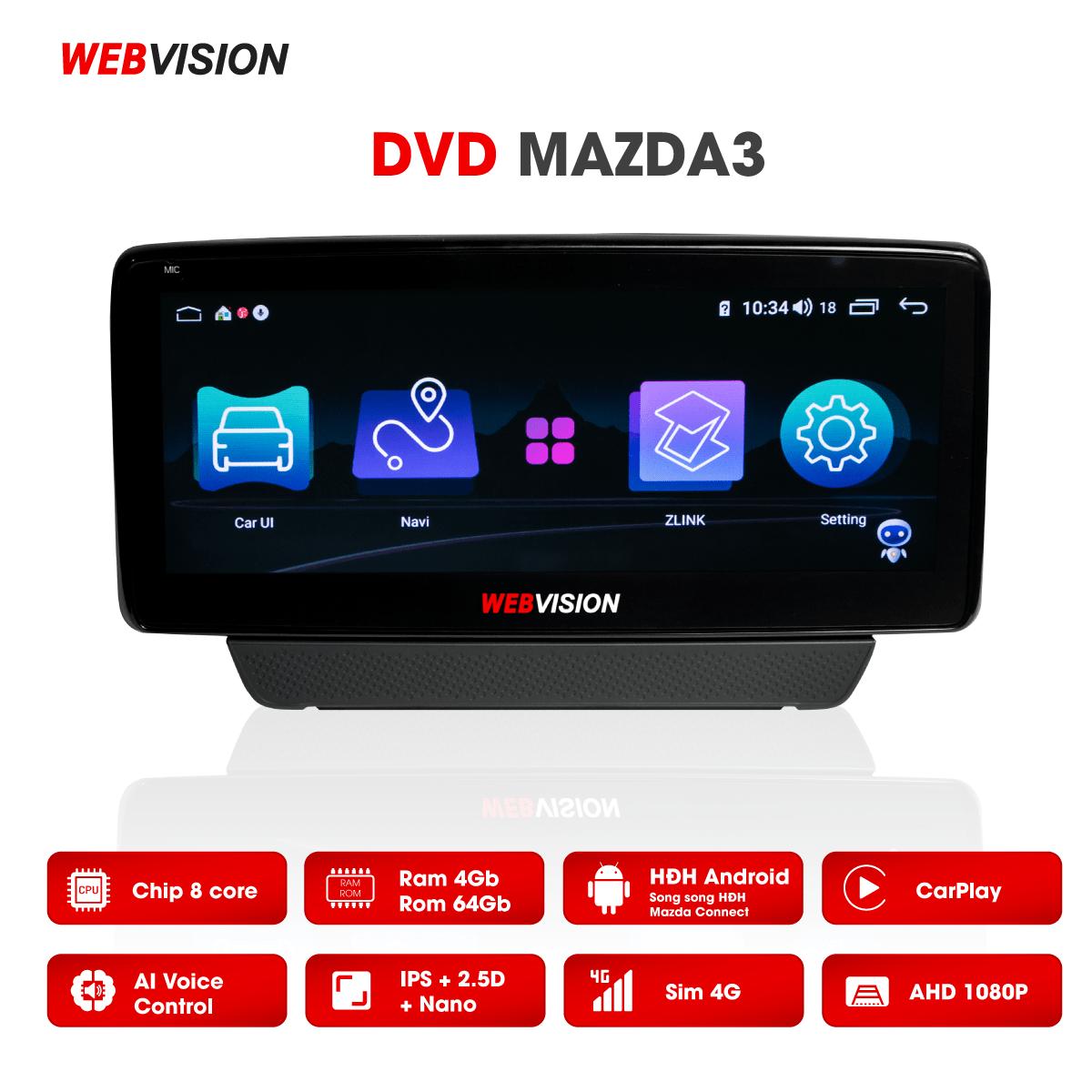 Màn hình DVD Webvision Mazda 3 hai hệ điều hành