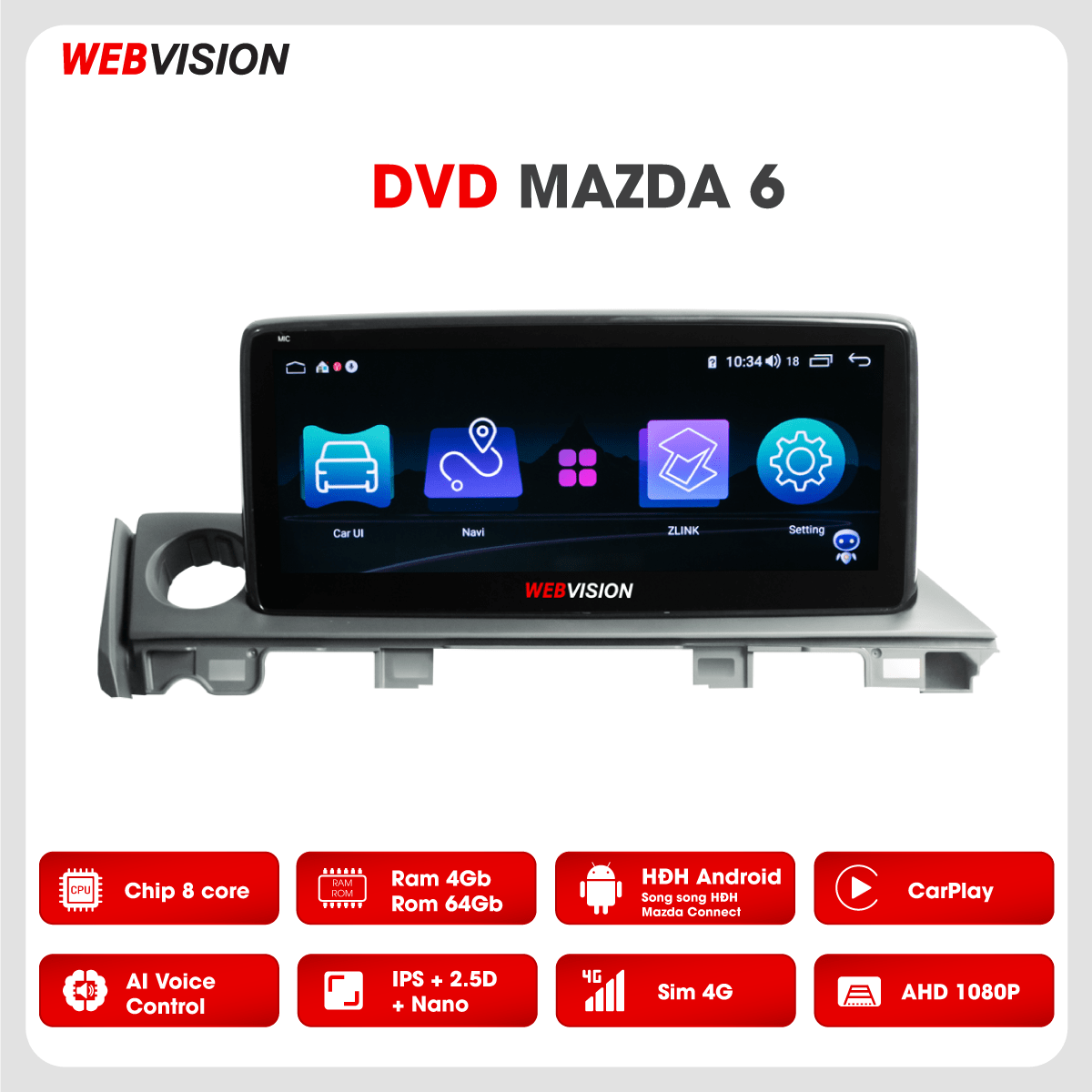 Màn hình DVD Webvision Mazda 6 hai hệ điều hành