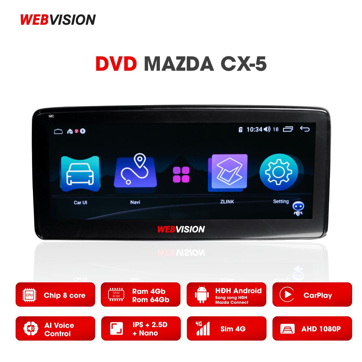 Màn hình DVD Webvision Mazda CX5 hai hệ điều hành