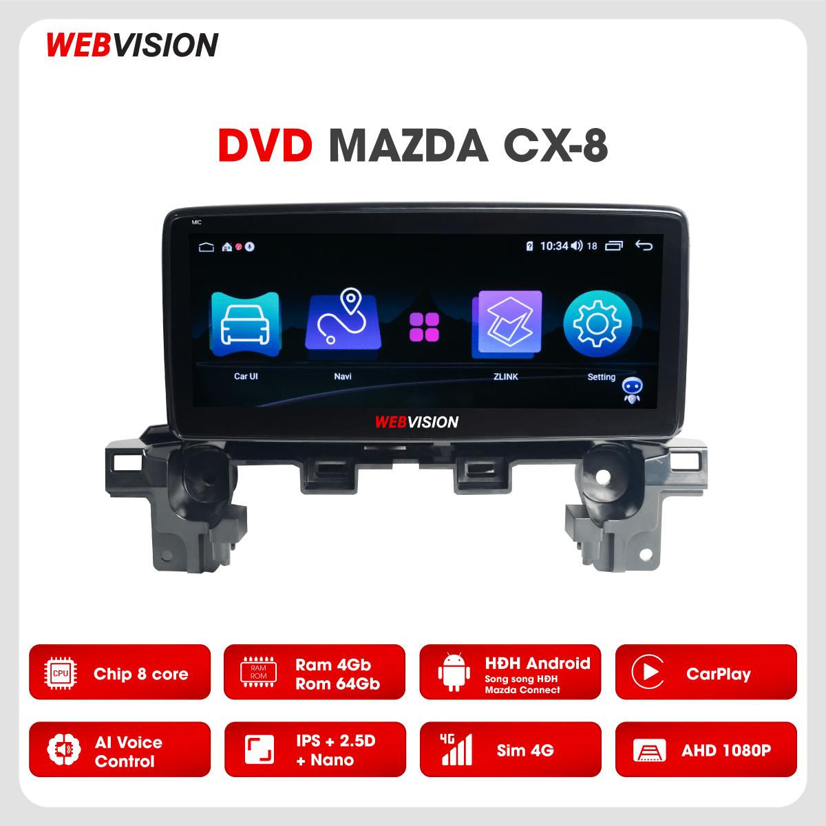 Màn hình DVD Webvision Mazda CX8 hai hệ điều hành