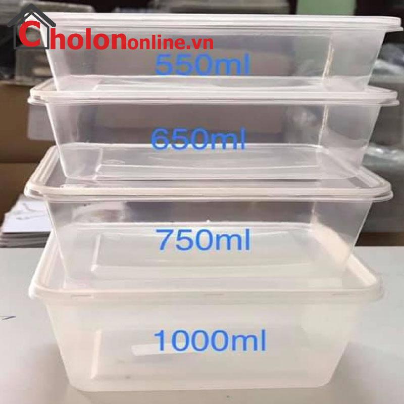 Hộp nhựa chữ nhật dùng 1 lần (10 cái/lốc)
