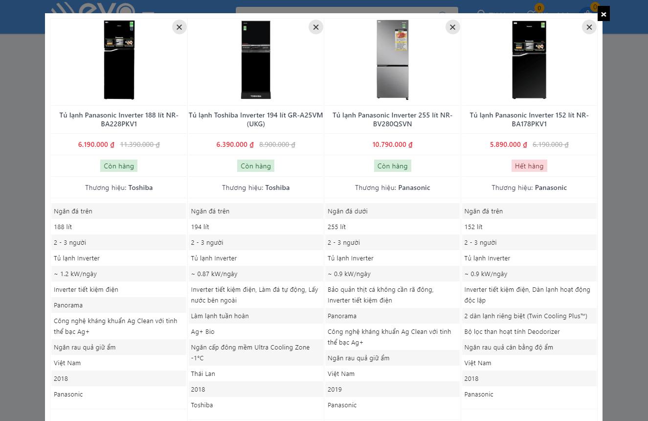 So sánh sản phẩm