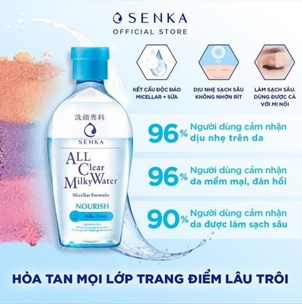 Nước Sữa Tẩy Trang 2 Lớp Senka ALL Clear Milky Water Milky Fresh 230ml Mặt  Hoa Da Phấn