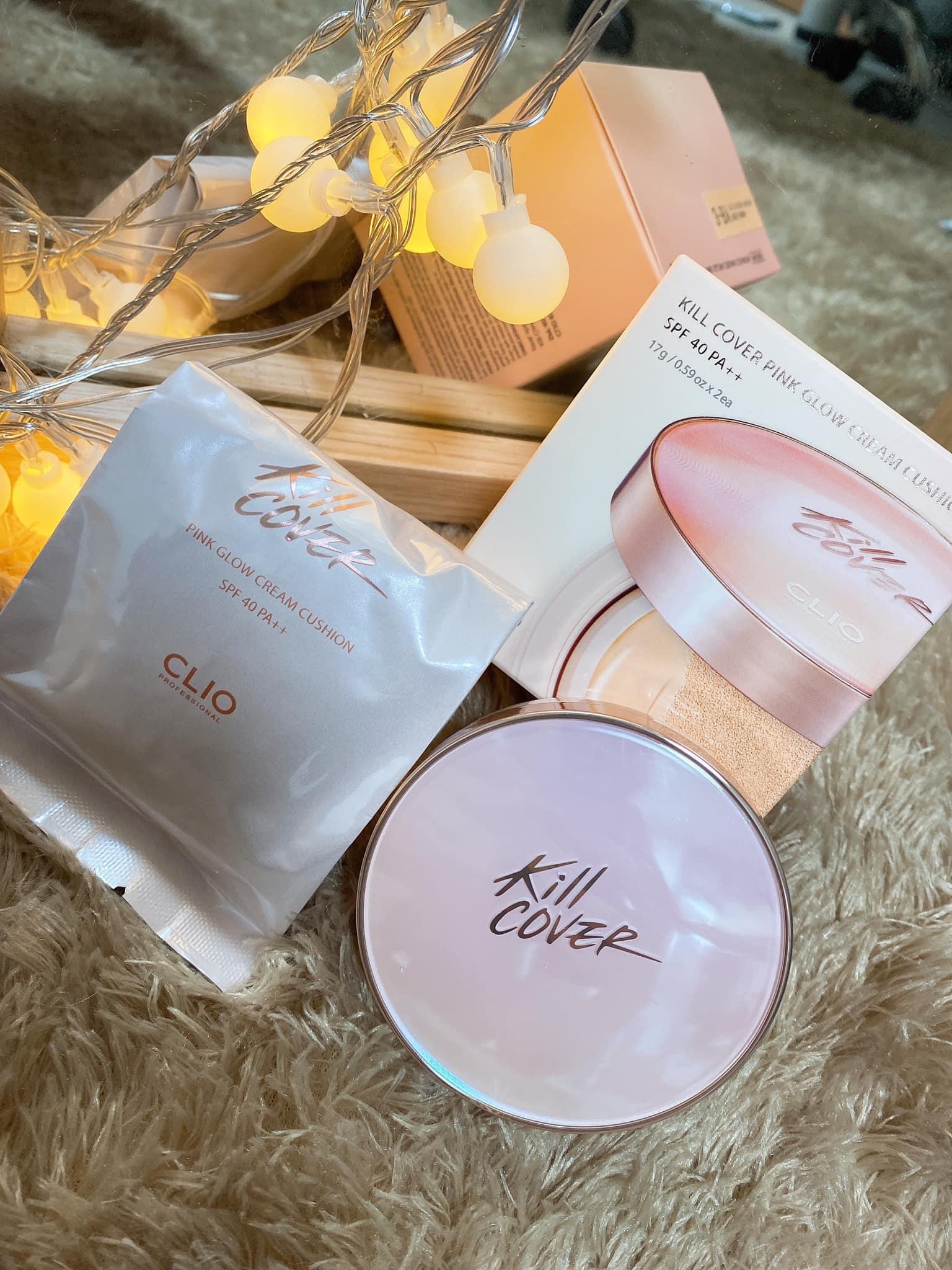 Phấn Nước CLIO Kill Cover Pink Glow Cream Cushion SPF40 PA++ 3BY Linen(Kèm Lõi Thay Thế 17g X 2)