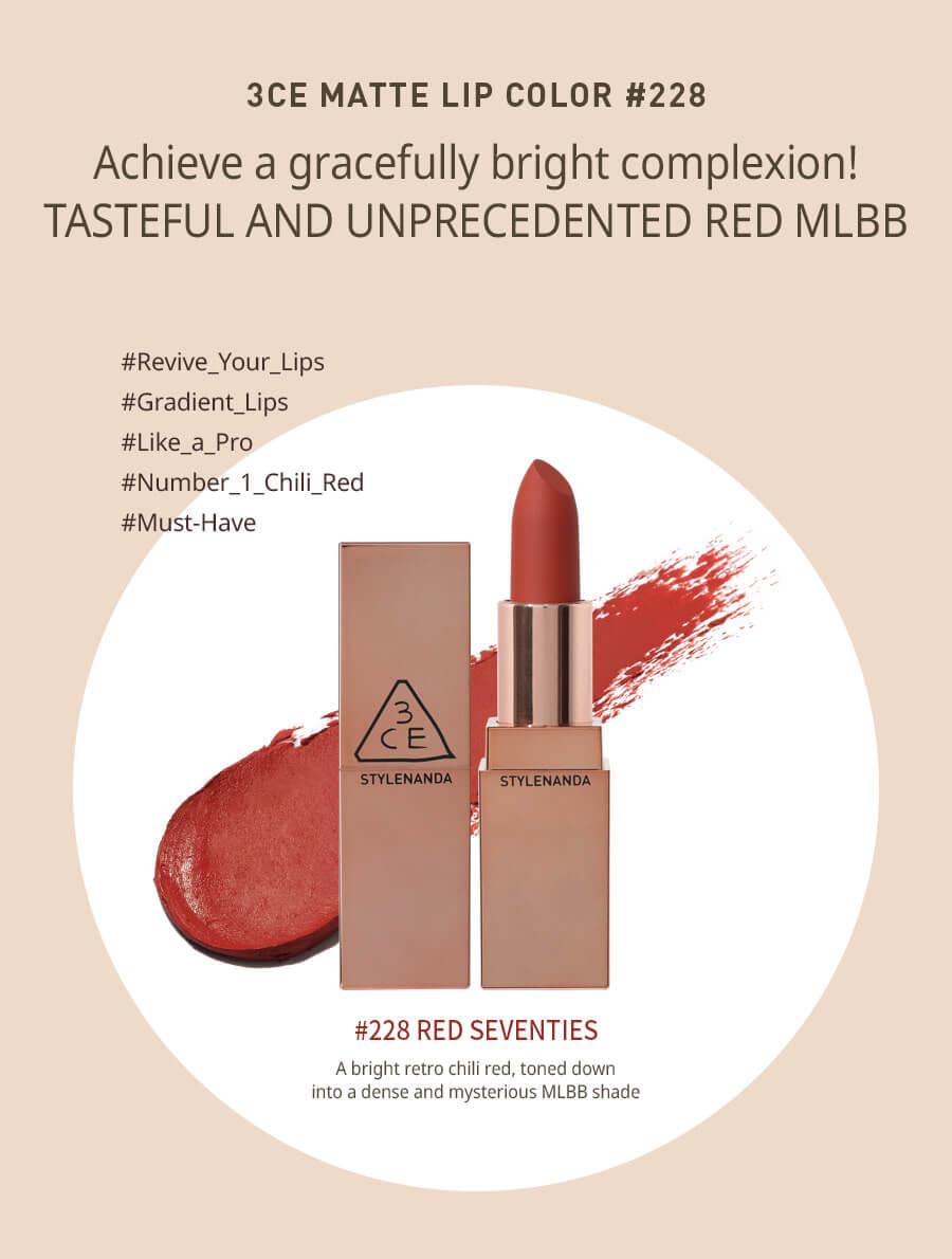 Son 3CE Matte Lip Color #228 Red Seventies