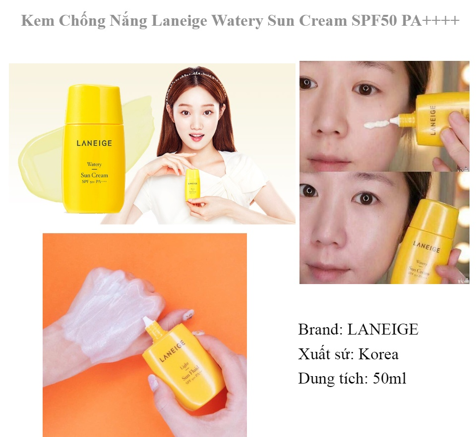 Kem Chống Nắng Dưỡng Ẩm Laneige Watery Sun Cream SPF50+ PA++++ 50ml