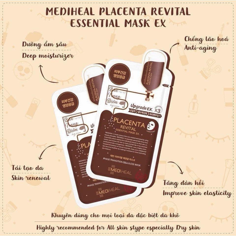 Mặt Nạ Dưỡng Da Nhau Thai Cừu Mediheal Placenta Revital Essential Mask Ex 24ml