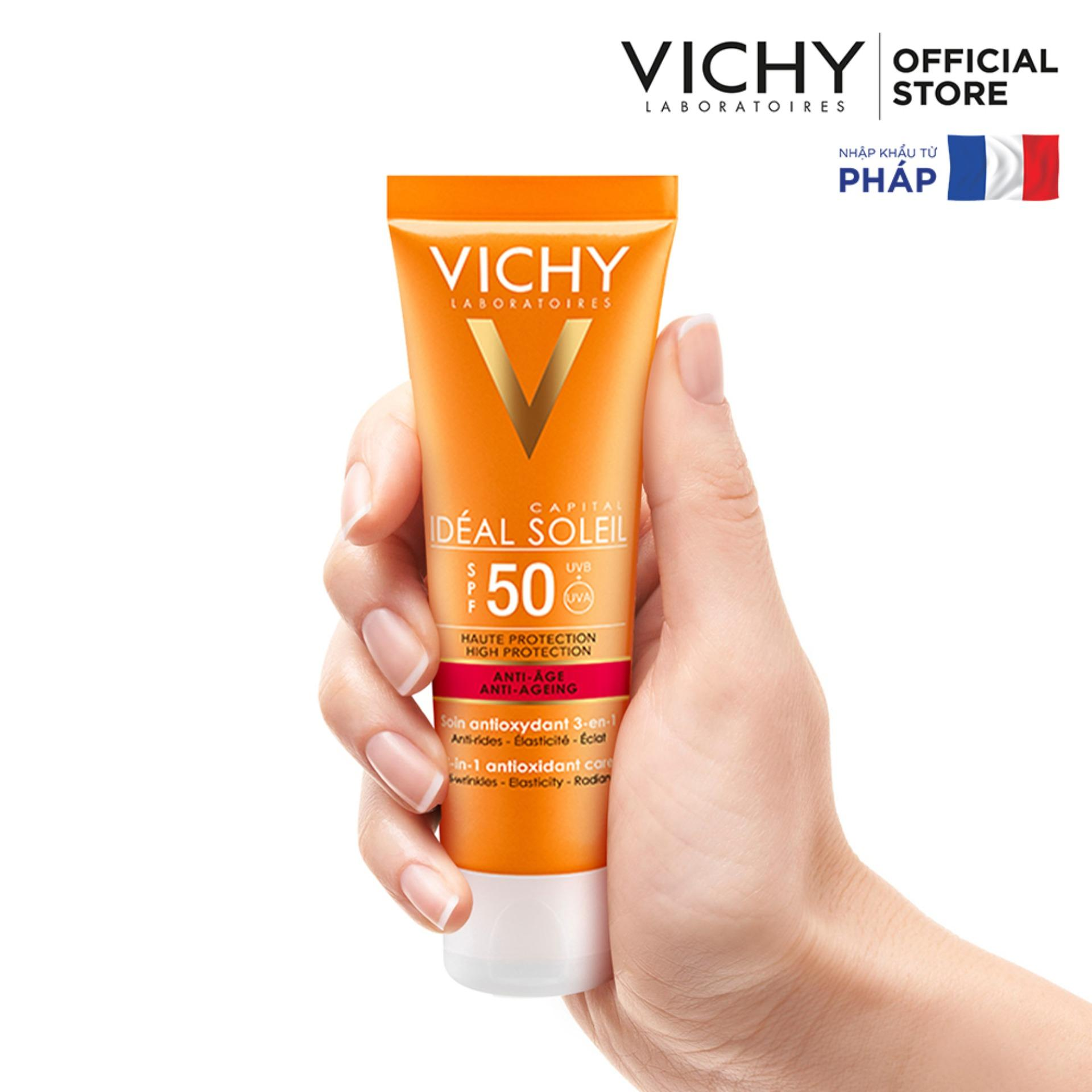 Chống Nắng Vichy Capital  Soleil Anti Ageing 3In1 SPF 50, UVA+UVB 50ml