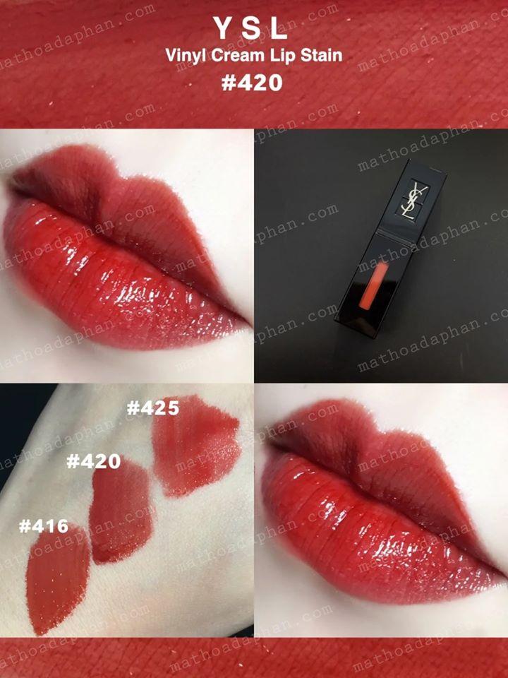 Son Kem YSL Vinyl Cream Creamy Lip Stain #420 Chili Vibration