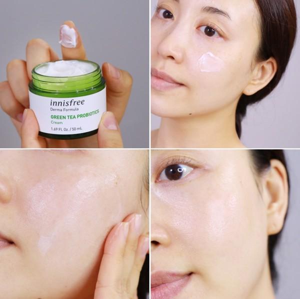 Kem Dưỡng Phục Hồi Da Innisfree Derma Formula Green Tea Probiotics Cream 50ml