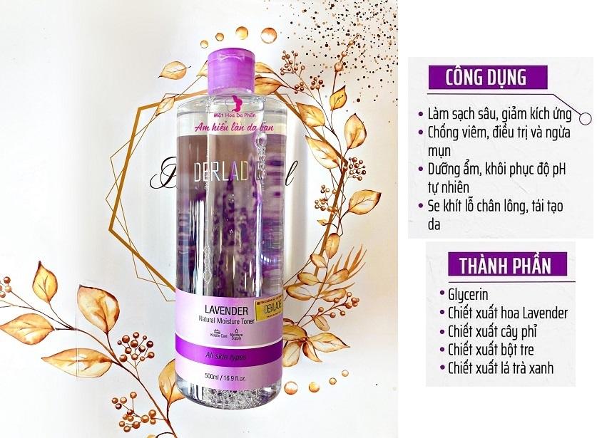 Nước Hoa Hồng Dưỡng Ẩm Derladie Lavender Natural Moisture Toner 500ml