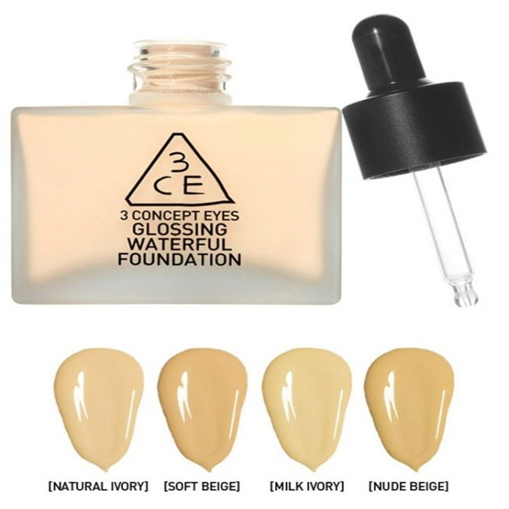 Kem Nền 3CE Glossing Waterful Foundation 40g #Natural Ivory (Chai )